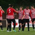 George Purcell (centre) is congratulated by his Hornchurch team-mates after finding the back of the