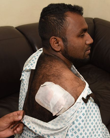 Stabbing victim Mohammad Rahman received nine stitches for his injuries