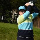Emma Nagler in her attempt to get 54 holes in one day at Chigwell Golf Club