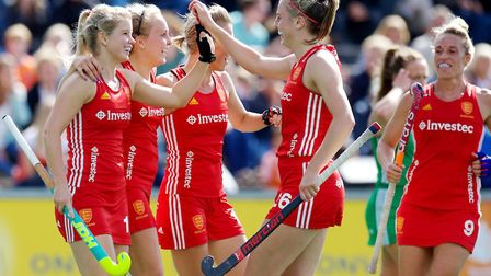 England's women celebrate a goal against Ireland at the Eurohockey Championships (pic Frank Uijlenbr