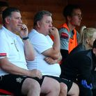 Hornchurch manager Jimmy McFarlane (left) and Colin McBride look on during their friendly with Leyto