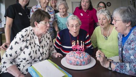 Terry Bennett celebrates her birthday with friends and staff at Woodland Grove (Picture: Lisa Pettif