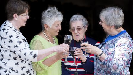 Terry Bennett, second right, with former pupils Siobhan Clarke, Barbara Griffiths and Kate Douglas (