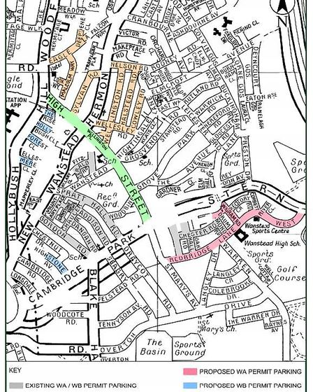 The roads which will get a residents' permit system under Redbridge Council's proposals. Picture: Re
