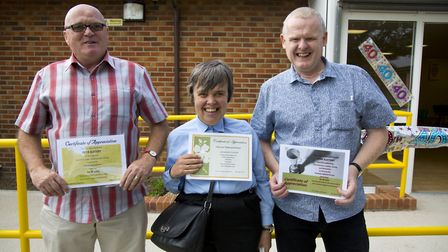 Jacqueline Scott with John and Peter Slattery. Pictures: Ellie Hoskins