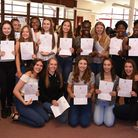 Sacred Heart of Mary Girls School GCSE results. Some of the top achievers celebrate
