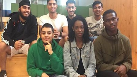 Mayfield students celebrating their A-level results. Top row: Jaskirpal Dhuphar, Abbas Khabbaz, Anil