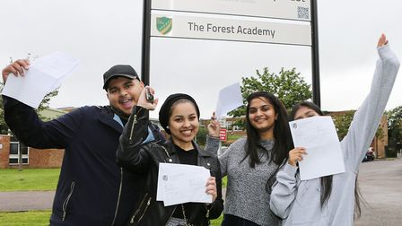 The Forest Academy, Harbourer Road, Hainault, IG6 3TN - A Levels results day.Left to right: Haris I