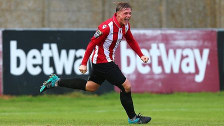 George Purcell celebrates scoring a late winner for Hornchurch (pic Gavin Ellis/TGS Photo)