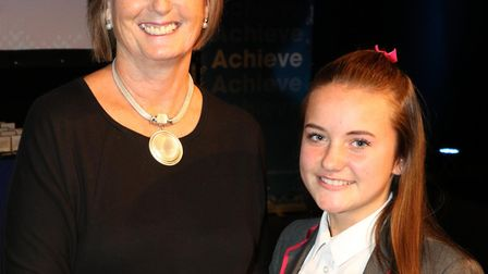 Katie Perry receives her Jack Petchey Award from Councillor Philippa Crowder. Picture: Jack Petchey