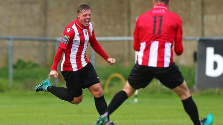 George Purcell scored twice for Hornchurch in their win over Aveley (pic Gavin Ellis/TGS Photo)