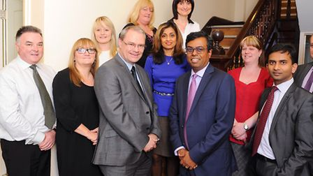 Daya Thayan, CEO of Kingsley Healthcare with members of his team based in Lowestoft. Picture: James