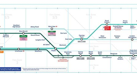 The new DLR map makes it easier for passengers to see the individual lines on the network. Picture: