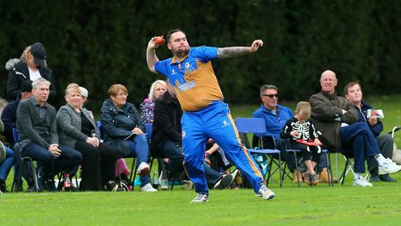Alan Ison throws the ball in from the boundary for a run out during the benefit match (pic Gavin Ell