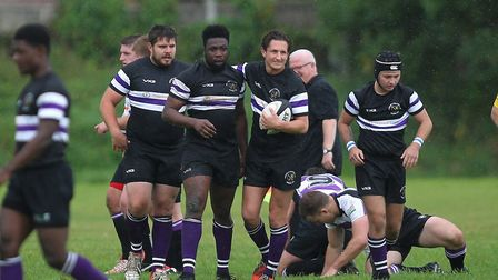 Romford & Gidea Park celebrate a try against Woodford (pic George Phillipou/TGS Photo)