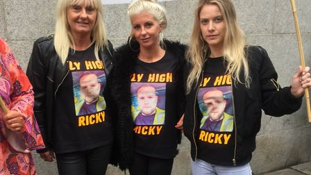 Mother Suzanne Hedges, sister April Hayden and friend Sian Jones join family and friends of Ricky Ha