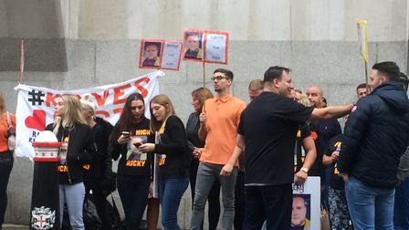 Family and friends of Ricky Hayden protest outside the Old Bailey on Friday, September 8. Picture: P
