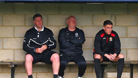 Hornchurch manager Jimmy McFarlane looks on from the dugout at Hertford Town (pic Gavin Ellis/TGS Ph
