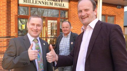 Douglas Carswell wiith Darryll Pitcher on a visit to Southwold.