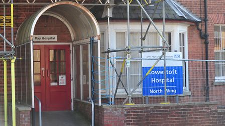 Fencing was installed at Lowestoft Hospital last month. Picture: Nick Butcher