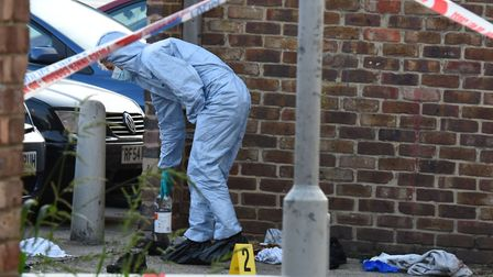 Police and forensic team at the scene of the double shooting in Forest Gate