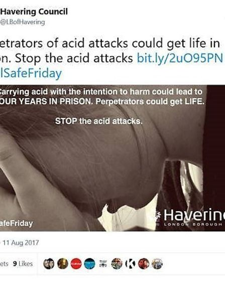 Havering Council sends a strong message to perpetrators of acid attacks on Twitter