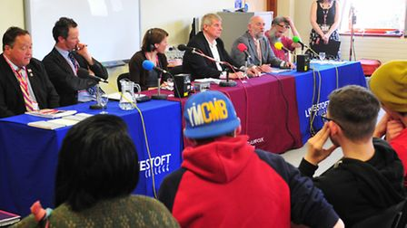 Students from Lowestoft college hold a election debate with local parliamentary candidates. Pictures