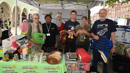 The I Heart Barkingside festival at Ken Aston Square last month. Redbridge Recycling stall with Trac