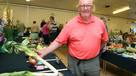 David Willox shows off his vegetables at the Elm Park Horticultural Guild Autumn Flower Show, on 2nd
