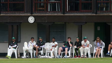 Harold Wood players look on from the pavilion against Gidea Park earlier this season (Pic: Gavin Ell