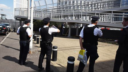Newham police out on their knife sweep aroud Stratford station