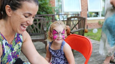 Barleycroft Care Home Open Day.Stacey Boot of Staceys Facepainting, decorating guest Olivia Rose T