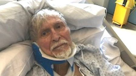 Ahmet Dobran, 82, pictured in hospital after being robbed in Sussex Road, East Ham. Picture: Metropo