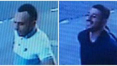 Police would like to speak to these two men following the robbery of Ahmet Dobran in East Ham. Pictu