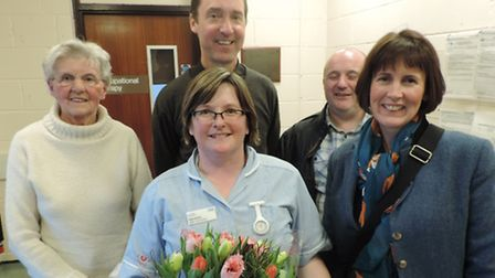 Southwold Hospital's Bake-Off winner Healthcare Assistant Sam Smith with the judging panel (from lef