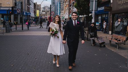 Laura and Alex were one of the first couples to get married in the town hall. Picture: Lisa Jane pho
