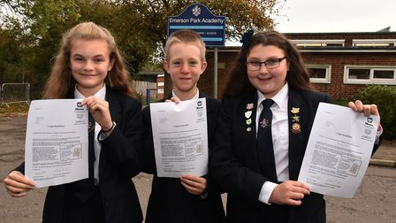 Molly Townsend, Daniel Bannock and Jessica Veal from Emerson Park Academy who got the maximum marks