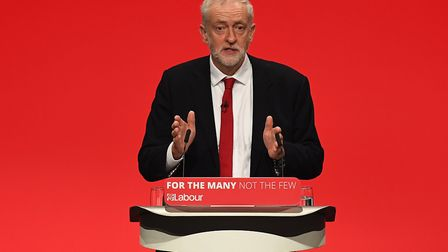 Jeremy Corbyn addresses delegates on the final day of the Labour Party. (Photo by Leon Neal/Getty Im