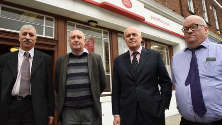 Iain Duncan Smith MP talking about the future of the South Woodford Post Office with Zaf Sarwar, Pet