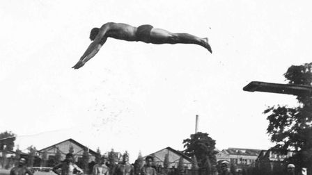An Ilford swimming gala was rescued by a judge thrilling crowds with a high-diving routine in 1957.