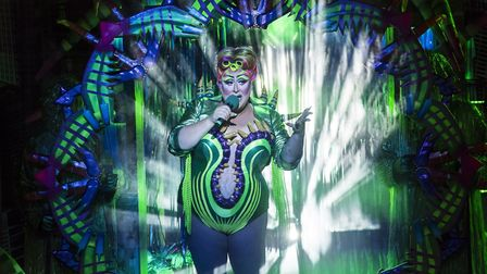 Vicky Vox stars as Audrey II in Maria Aberg's dazzling adaptation of the Little Shop of Horrors ; Cr