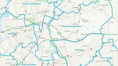The new Boundary Commission proposals for Redbridge which keep Ilford South, add Wanstead to Ilford North and Wanstead...
