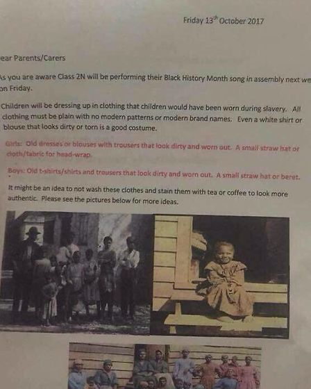 This letter was sent home to parents asking them to dress their children as slaves. Picture credit:
