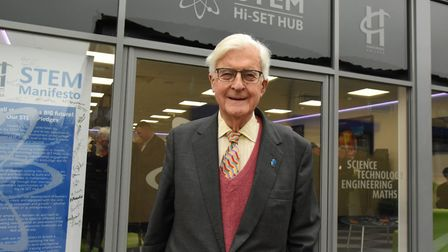 Lord Baker on his visit to the Rainham Construction campus at Havering College.