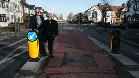 Cllr's Ashley Kissin and Alan Weinberg at the width restriction in Longwood Gardens