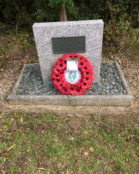 A wreath was laid at the roadside memorial to Pc Gutteridge on Saturday. Photo: Ahmed Ramiz of the N