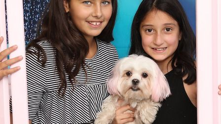 Lily Ismael (holding dog Petal) and Mia cohen . Picture: David Solomon