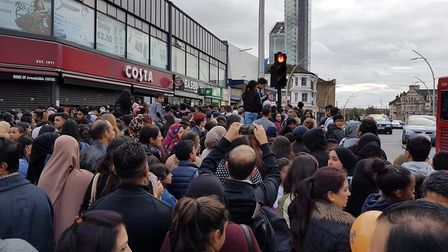 People were crushed after huge crowds massed to see YouTuber Adam Saleh in Ilford. Picture: Adil Mus