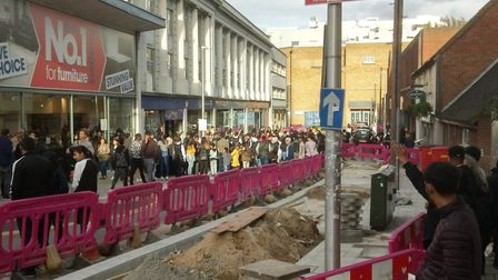 Crowds in Ilford to see YouTuber Adam Saleh. Picture: Alex Holmes