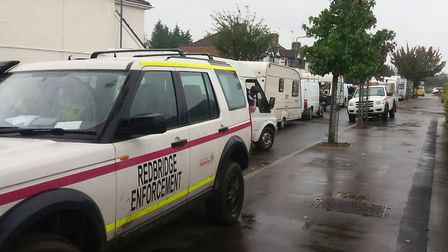 Travellers were evicted in a joint operation between Redbridge Council and the police. Picture: Ken